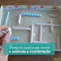 Este labirinto caseiro é um brinquedo muito divertido, fácil de fazer e estimula a coordenação das crianças. Você pode variar o desafio conforme a idade