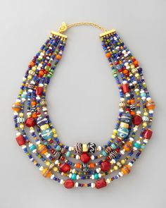 Necklace | Jose & Maria Barrera.  6 strands of handcrafted Indonesian beads, 24k gold plated metal
