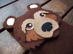 Funda iPhone oso fieltro - Funda teléfono oso de LayonStore por DaWanda.com