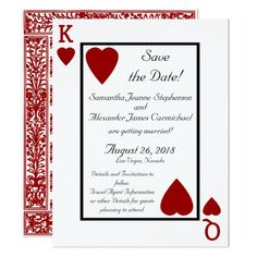 Shop Playing Card King/Queen Save the Date created by CustomInvites. Red Wedding Invitations, Save The Date Invitations, Card Wedding, Diy Wedding Decorations, Wedding Ideas, Queens Wedding, Stag And Doe, Wedding Messages, Silver Anniversary