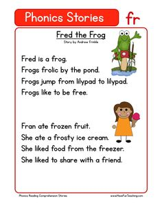 This Reading Comprehension Worksheet - Fred the Frog is for teaching reading comprehension. Use this reading comprehension story to teach reading comprehension. First Grade Reading Comprehension, Phonics Reading, Reading Comprehension Worksheets, Teaching Phonics, Teaching Reading, Abc Phonics, Comprehension Strategies, Reading Response, Blends Worksheets
