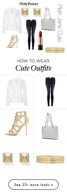 """""""Plain Jane Cute"""" by chiccouturegirl on Polyvore featuring Frame Denim, Sergio Rossi, Chanel, Lancôme, Liz Claiborne, Palm Beach Jewelry and PolyPower"""