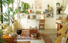 Persian carpets, wooden chairs & pot plants. I like.