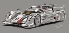 Antonio VALIENTE Medina  ilustracion echa en talbleta wacon,  Audi has introduced its new Audi R18 e-tron quattro, with the mission of being the first hybrid car to win the Le Mans 24 Hours.