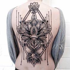 Ornamental Mandala Back Tattoo
