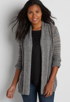 striped cardigan with open and metallic stitching (original price, $44.00) available at #Maurices
