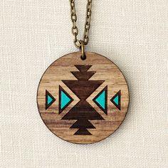 Navaho - Geometric Aqua Wood Necklace - Navajo tribal - laser cut - tattoo inspiration