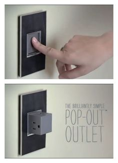 The adorne Pop-Out Outlet is an electrical outlet that is hidden in the wall and when you need it, just pop it out of the wall with a simple press.