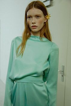 Vintage glamour in sea green at Vionnet AW15 PFW. See more here: http://www.dazeddigital.com/fashion/article/23965/1/vionnet-aw15