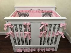 Baby Girl Mini Crib Bedding - Pink and Gray Mini Crib Bedding, Mini Crib Bumpers Mini Crib Bedding, Pink Bedding, Bedding Sets, Nursery Window Treatments, Crib Bumpers, Pink Grey, Gray, Boppy Cover, Crib Skirts