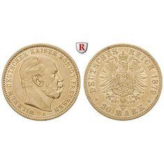 Deutsches Kaiserreich, Preussen, Wilhelm I., 20 Mark 1879, A, f.vz, J. 246: Wilhelm I. 1861-1888. 20 Mark 1879 A. J. 246; GOLD, fast… #coins
