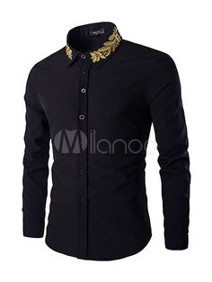 Golden Leaves Embroidered Shirt Collar Long Sleeves Shirt For Men African Men Fashion, Mens Fashion, Fashion Site, Trendy Fashion, Fashion Online, Casual Shirts For Men, Men Casual, Moda Formal, Shirt Embroidery
