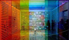 Yaacov Agam « Aménagement de l'antichambre des appartements privés de l'Elysée », 1972-1974. Présidence de Georges Pompidou. Sourcing image : exposition temporaire du Centre Pompidou, 2012