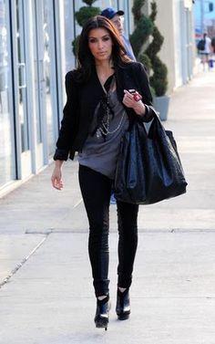 2651c76a6443 Kim Kardashian wearing Yves Saint Laurent Y Platform Booties