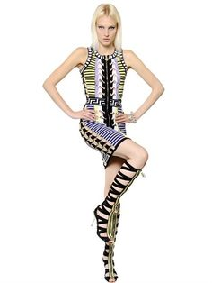 Versace Stretch-knit mini dress.. love the multicoloured stretch-knit material.. artistically Italian and super sexy.. #versace