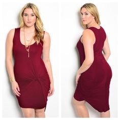 "Plus size burgundy dress This knit sleeveless dress features a sarong wrap detail and scoop neckline.  Fabric: 95% RAYON 5% SPANDEX. length is 45"" Boutique Dresses"
