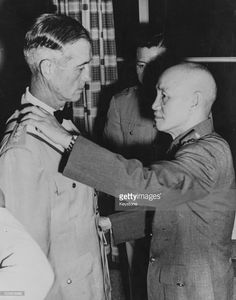 Chinese President Chiang G Kai-Shek (right) talking to General Earle E Partridge, US Far East Commander, at the Presidential Mansion in Taipei, June 4th 1955