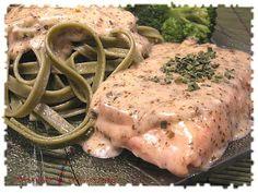Ma cuisine de tous les jours: Saumon crémeux au pesto et à la ciboulette