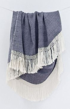 Diamanta Throw Blanket - Blue with Fringe #home #blanket
