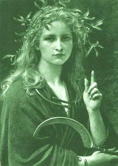 """Velléda, Druidesse-prophètesse de la tribu des Bructères (tribu d'origine teutonique je crois) qui vécue à l'époque de l'empereur Vespasien (69-79 ap J.C). Bien que Germaine, Velléda portait un nom d'origine celtique provenant de la racine Gwel qui signifie """"voir"""" et qui est l'équivalent de l'Irlandais """"fili"""" - """"voyant poète"""". Elle dominait un vaste territoire et était l'objet d'une profonde vénération."""