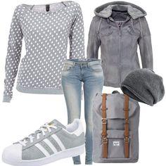 Dieses Outfit ist sportlich, casual und lässig. Only Jeans, B.C. Best Connections Shirt und eine saucoole KangaROOS Lederjacke werden kombiniert mit ADIDAS ORIGINALS Sneaker.