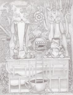 Dr. Applehead and the unidentical cat twins  #anatomy #fantasyart #surreal #pencildrawing #blackandwhite