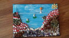Deniz cami tas ve feniz kabugu kullanarak yaptigim tablo..