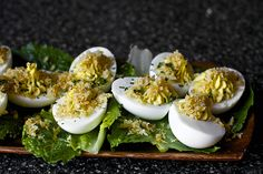 Cesar salad deviled eggs