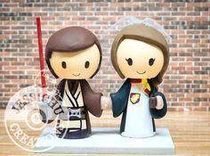 Jedi & Gryffindor Wedding Cake Topper - Batman, Harry Potter, Star Wars, Disney, Game, Jedi, HP, Hogwarts, Lightsaber, Always, Magic, Wand