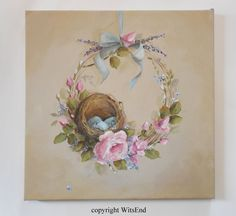 Nest wreath painting original ooak roses and robin by 4WitsEnd