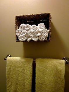 diy Design Fanatic: I Love Baskets  A good way to keep washcloths near the shower!