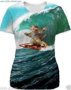 Pizza Surf Cat T-Shirt - Crazy Cool Sublimation Tee
