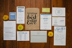 "Rehearsal Dinner ""packets"" -- Bride/groom madlibs, wedding schedule for everyone, list of phone numbers the wedding party might need the day of, etc."