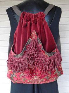 Rich Chenille Tapestry Burgundy Fringe Backpack Dark Rust Iridescent Brown Boho Backpack    Sling Bags  School Bags  Book Bags. $45.00, via Etsy.