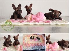 Sugarpaste Christening cake topper for girl Dogs watch over the sleeping baby