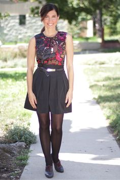"""Back to work #madeinUSA outfit details: Flower shell,Trina Turk; Circuitblack skirt byNanette Lepore;""""Aceso"""" oxford shoes byGentryDowneyavailable Fall 2013"""