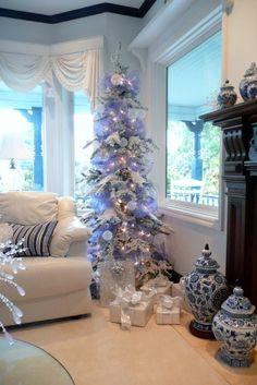 White christmas tree decorations ideas noel New ideas White Christmas Tree Decorations, Flocked Christmas Trees, Christmas Tree Design, Purple Christmas, Beautiful Christmas Trees, Noel Christmas, Holiday Tree, Xmas Tree, Holiday Decor