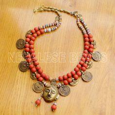"N2287 Tibetan Nepalese Red Glass Beads Brass Necklace  27"" Tibet Nepal #Eksha #Necklaces"