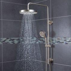 Speakman SWS-1003-BN Round Rain Shower Head with Handheld Combo Shower System and Adjustable Slide Bar, Brushed Nickel