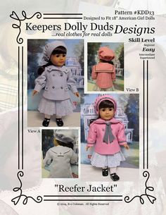 PDF Pattern #KDD13 Reefer Jacket & Hat with two views.     ORIGINAL KeepersDollyDuds DESIGNS!      KeepersDollyDuds has partnered with well