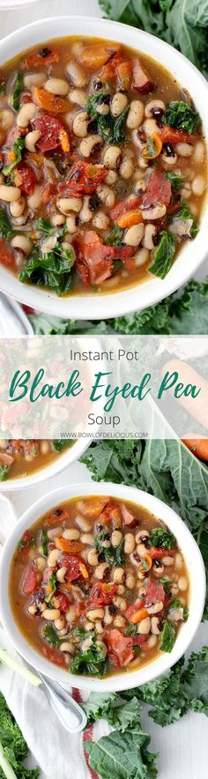 This Instant Pot Black Eyed Pea Soup is an easy and fast way to serve traditional black eyed peas and greens on New Year's day for good luck and good health! Packed with veggies, healthy pulses, freezable, and gluten/dairy free.