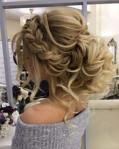 long blonde hair, in a braided updo, wedding hairstyles updo, grey sweater, flower bouquets on the table Long Face Hairstyles, Braided Hairstyles Updo, Wedding Hairstyles For Long Hair, Braided Updo, Fashion Hairstyles, Prom Hairstyles, Hair Wedding, Hair Updos For Weddings Guest, Flower Hairstyles