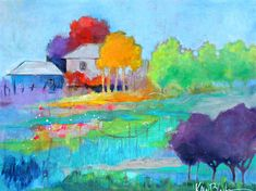 "Abstract Landscape, Country Home, Trees, Colorful Original Artwork, ""Meet Me At the Homestead"" 18x24"" free shipping"