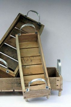 reclaimed Wood Tote Carrier Nesting Baskets for Kitchen Entertaining or Organizers Awesome Woodworking Ideas, Woodworking Joints, Woodworking Workshop, Woodworking Techniques, Woodworking Furniture, Diy Furniture, Woodworking Projects, Furniture Plans, Popular Woodworking