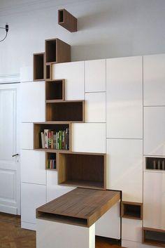 cuisine blanche et niches en bois