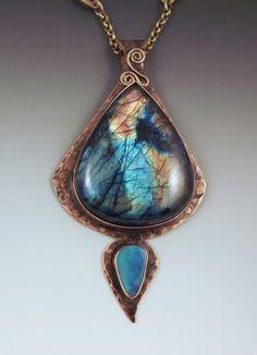 Rainbow Labradorite and Blue Opal Smokey BronzeMetal Art by RedPaw, $259.00