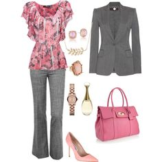 Pink and Gray work, created by rockymtnrain on Polyvore