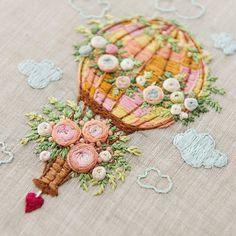@golandart #воздушныйшар #нежность #цветы #розы #вышивка #вышивкагладью #объёмнаявышивка #embroidery