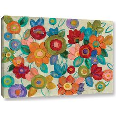 """ArtWall 'Decorative Flowers' by Silvia Vassileva Print of Painting on Wrapped Canvas Size: 8"""" H x 12"""" W x 2"""" D"""