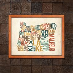 Oregon by County  Typography Print by SniffStudio on Etsy
